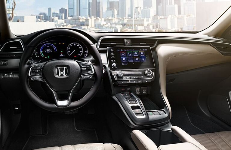2019 Honda Insight interior shot of steering wheel, infotainment, and dashboard layout