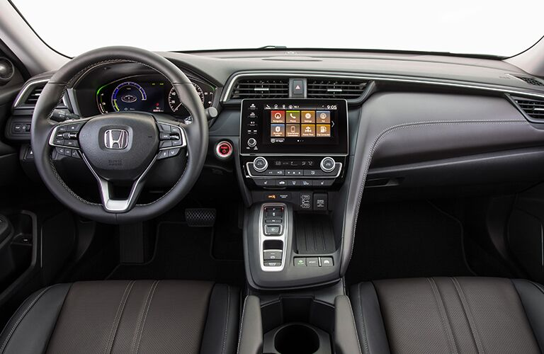 2019 Honda Insight interior front seat shot of steering wheel, transmission, and dashboard infotainment screen