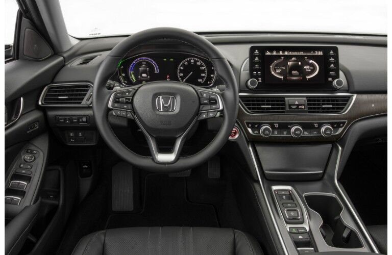 2019 Honda Accord Hybrid interior shot of front seating view of steering wheel, driver's display, and infotainment touchscreen