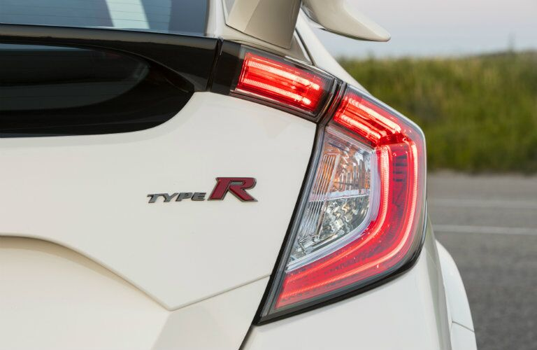 2019 Honda Civic Type R exterior rear closeup shot of unique taillight design, spoiler, and Type R badging