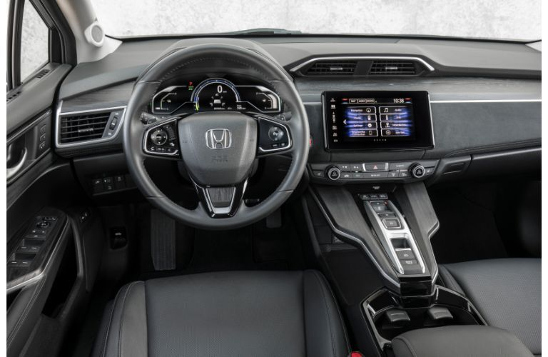 2019 Honda Clarity Plug-In Hybrid interior shot showing front seating, steering wheel, and dashboard design