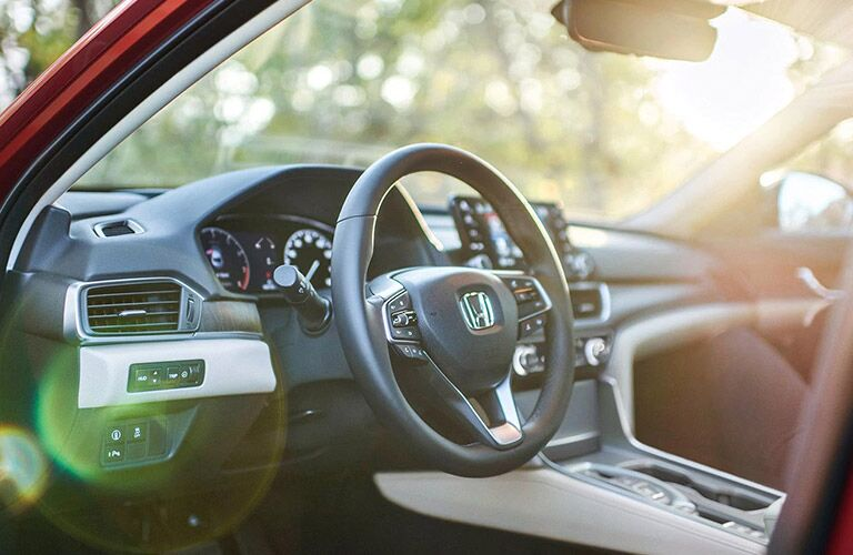 Steering wheel and inside look of the 2021 Honda Accord  from outside