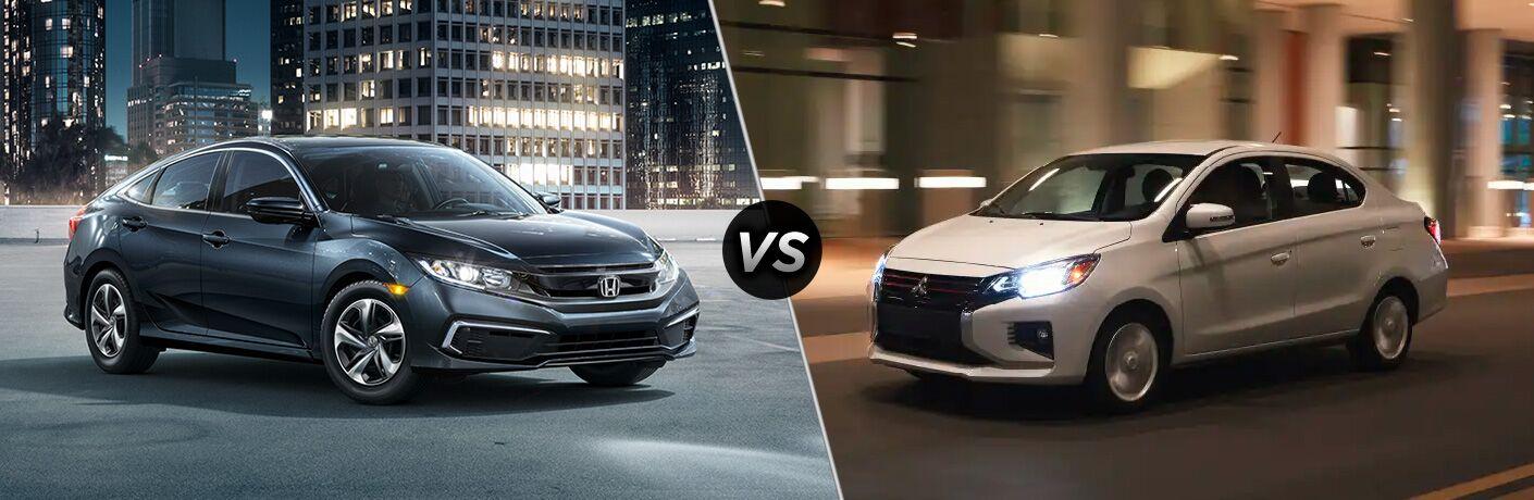 2021 Honda Civic Sedan vs 2021 Mitsubishi Mirage