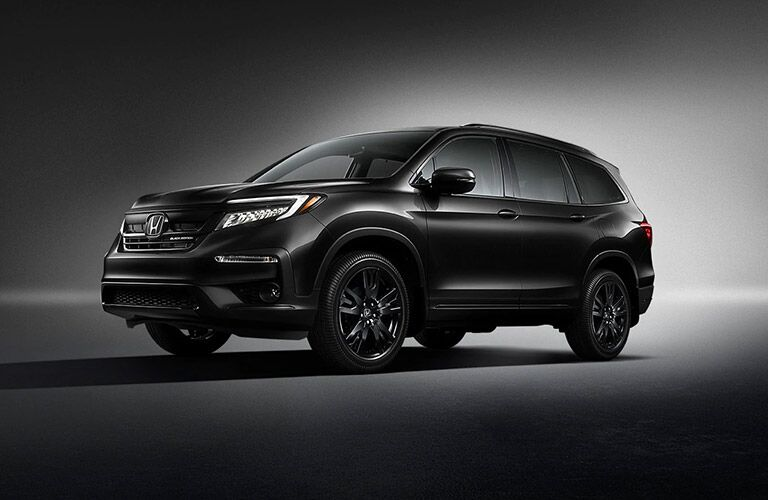 Black 2021 Honda Pilot Black Edition on Dark Background