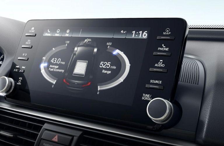 The 9-inch infotainment display inside the 2021 Honda Accord Hybrid