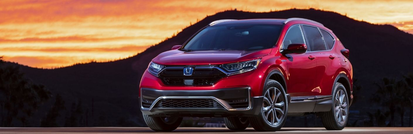 Red 2021 Honda CR-V Hybrid Front Exterior at Sunset