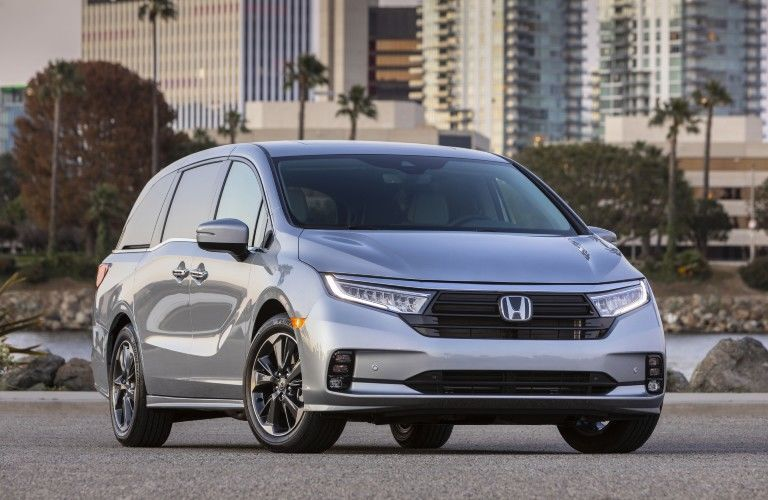 Silver 2022 Honda Odyssey Front Exterior in a Parking Lot