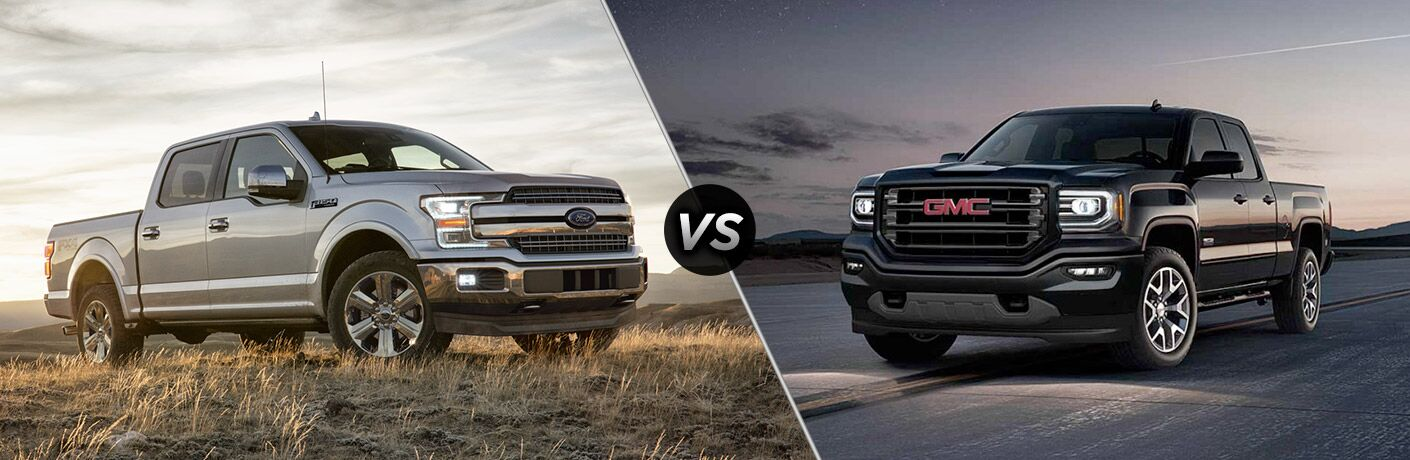 2018 ford f-150 and 2018 gmc sierra 1500 shown on split screen image