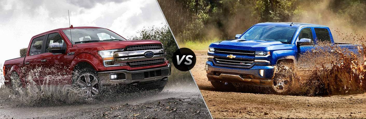 split screen comparison beetween 2018 ford f-150 red and 2018 silverado blue