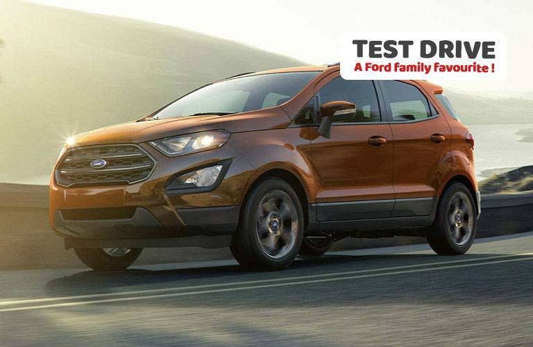 ecosport in red with overlaid text to test drive a ford family favorite