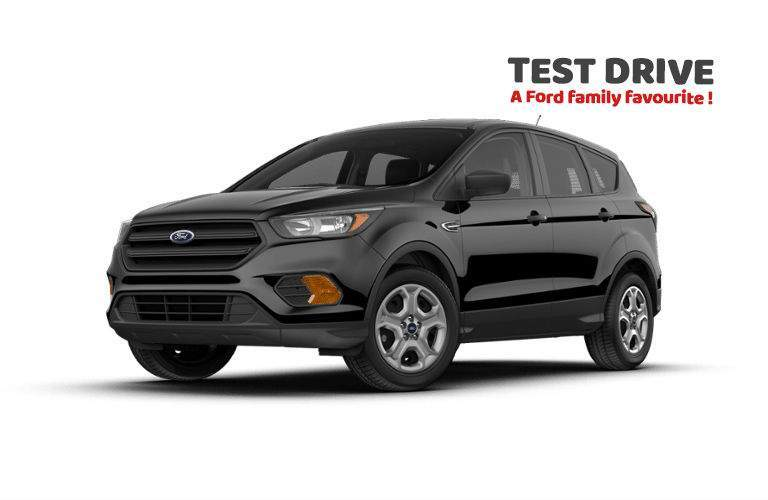 2018 ford escape in black with overlaid text to test drive a ford family favorite