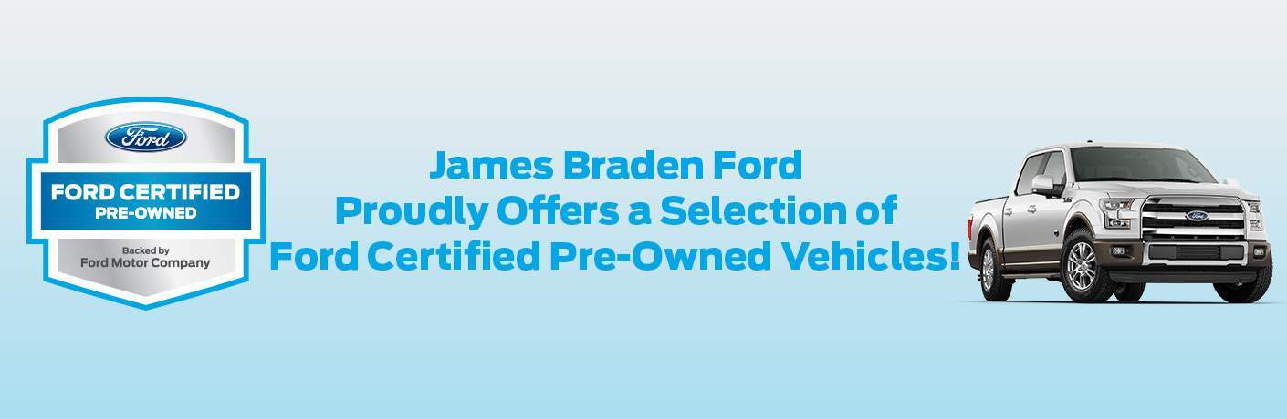 certified pre owned ford models at james braden ford in kingston ontario image with ford cpo badge and f-150