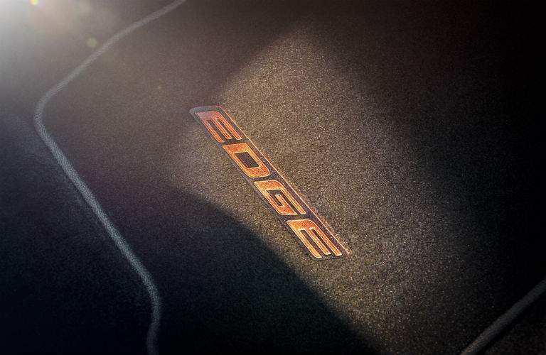 Edge logo on the floor mat of the 2018 Ford Edge