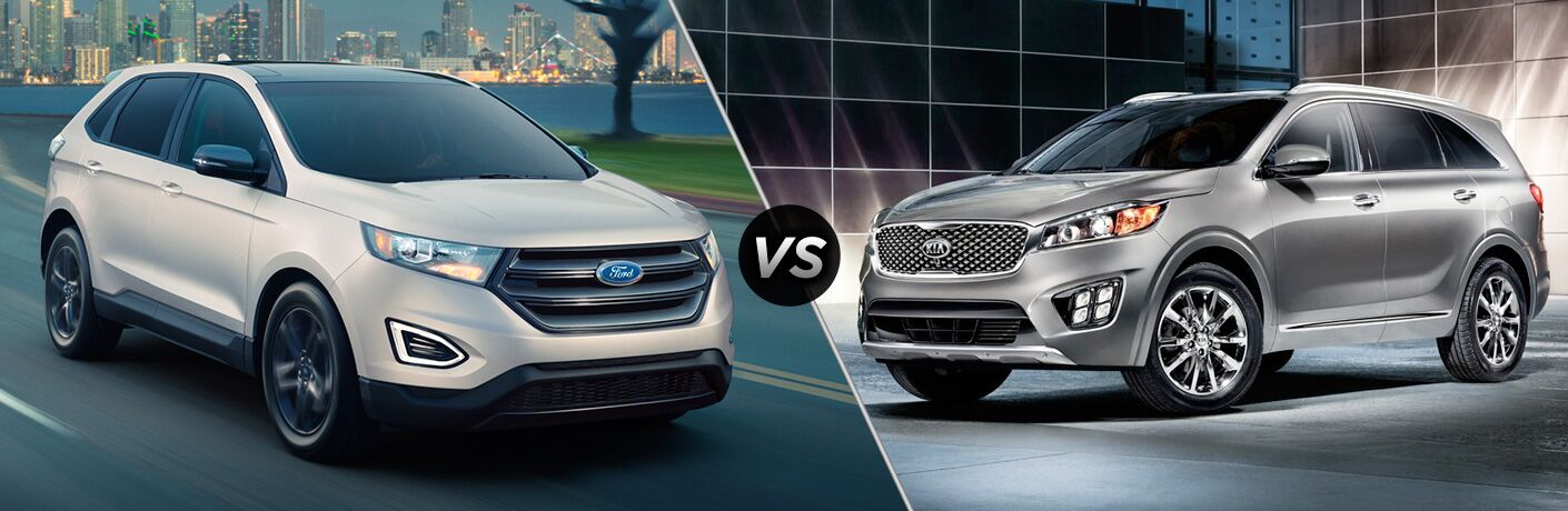 2018 Ford Edge driving on a highway by a city vs 2018 Kia Sorento parked in a gray tiled room