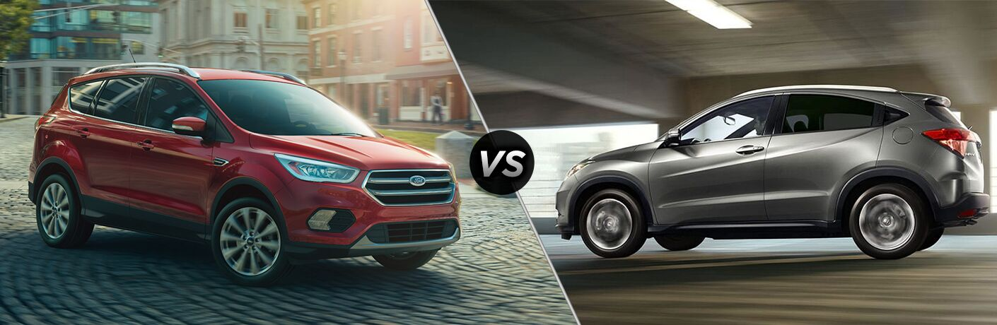 2018 Ford Escape driving on a brick road vs 2018 Honda HR-V driving on a highway