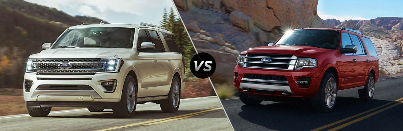 2018 Ford Expedition driving on a highway by a hill vs 2017 Ford Expedition driving on a highway by mountains