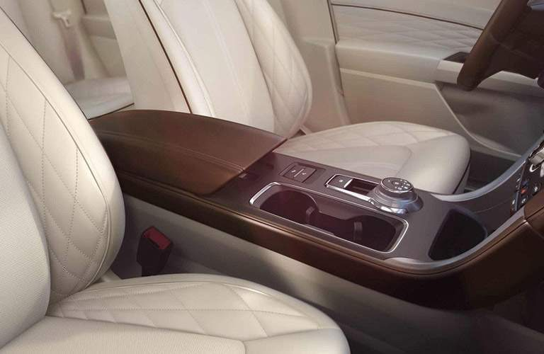 2018 Ford Fusion Front Cabin Beige Cloth Interior 2
