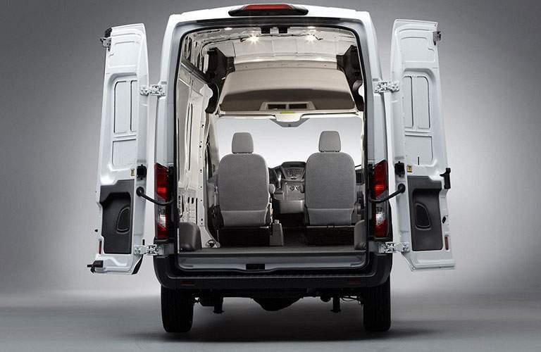 2018 Ford Transit Cargo Van Rear Doors open White Exterior