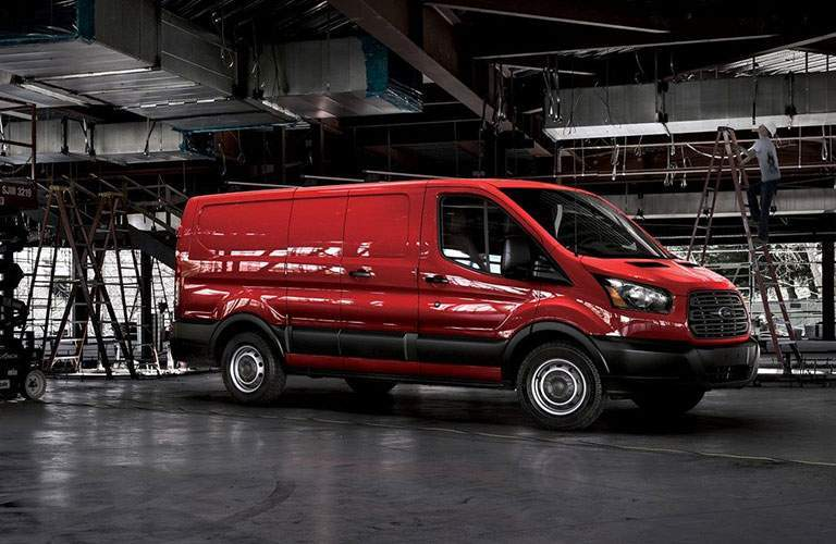 2018 Ford Transit Cargo Van Red Exterior Side View