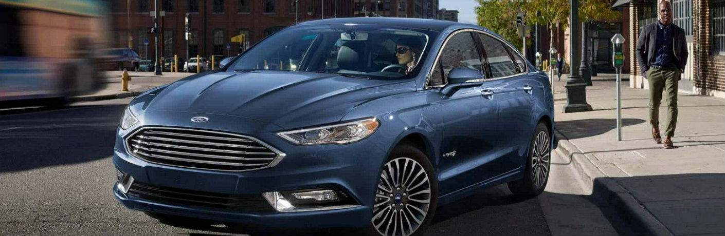 2018 Ford Fusion Hybrid Blue Exterior Front View