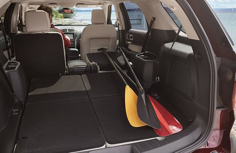 rear cargo space of 2019 ford explorer with third and second row seating folded down
