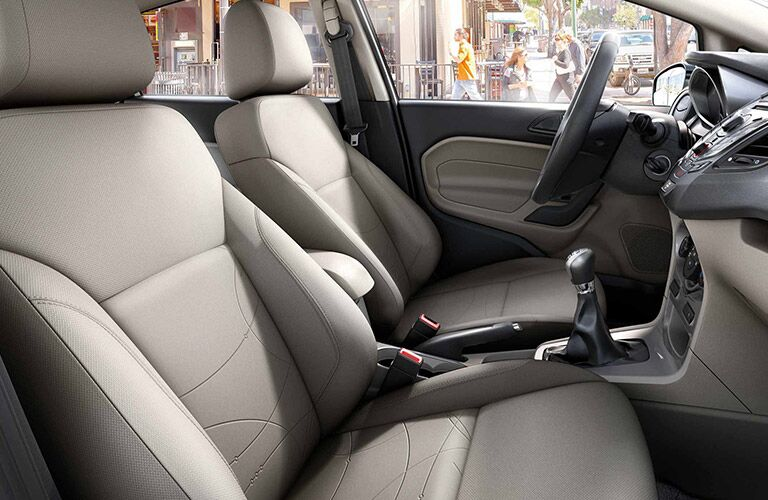 side view of front interior of 2019 ford fiesta including seats and center console
