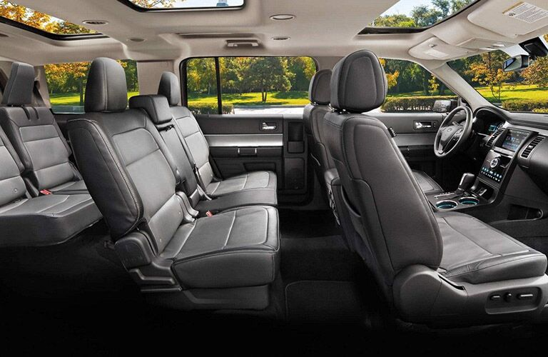 side view of interior of 2019 ford flex including third-row seating and sunroofs