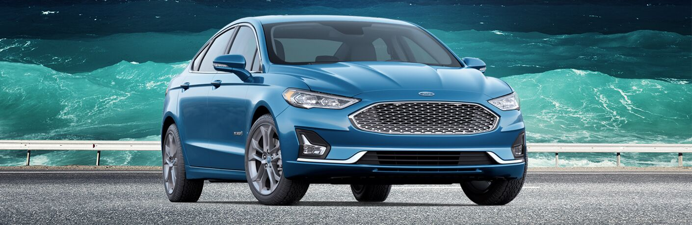 front and side view of blue 2019 ford fusion hybrid