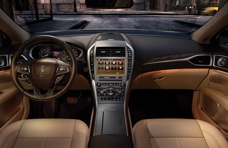 front interior of 2019 lincoln mkz including steering wheel and infotainment system