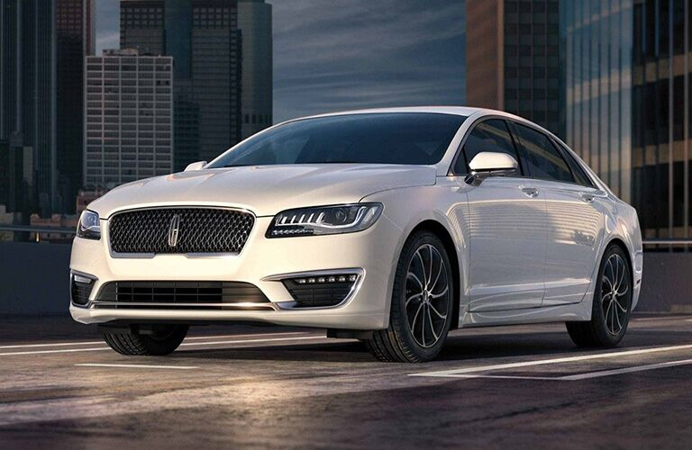 front and side view of white 2019 lincoln mkz
