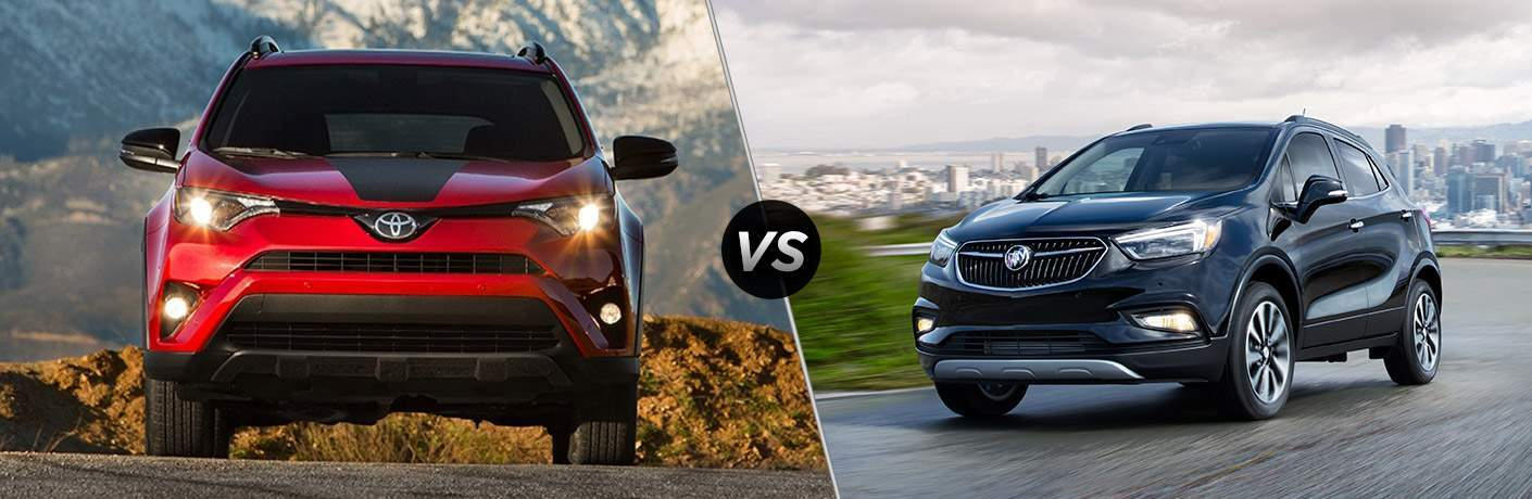 2018 Toyota RAV4 in red vs 2018 Buick Encore