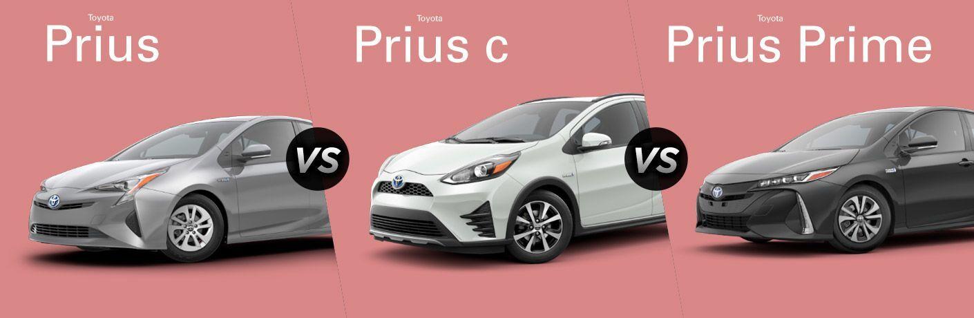 2018 toyota prius toyota prius c and toyota prius prime side by side