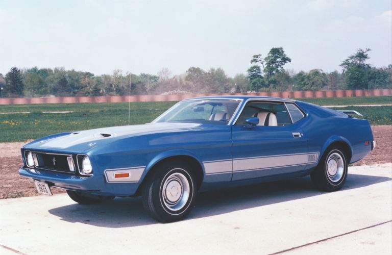 Side exterior view of 1973 Ford Mustang