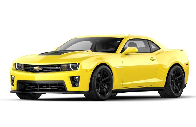 exterior side view of a yellow 2014 Chevy Camaro