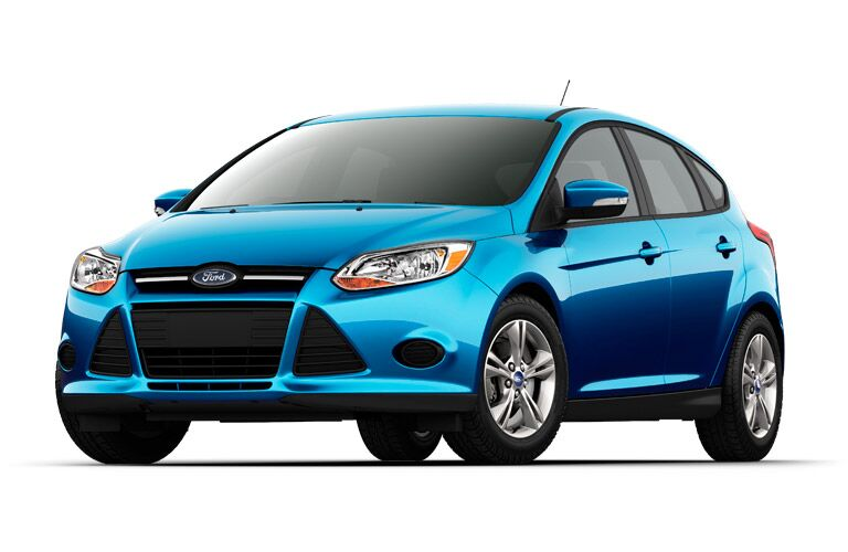 Front exterior view of a blue 2014 Ford Focus