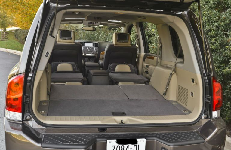Rear seats folded flat in the 2014 Nissan Armada for increased cargo capacity