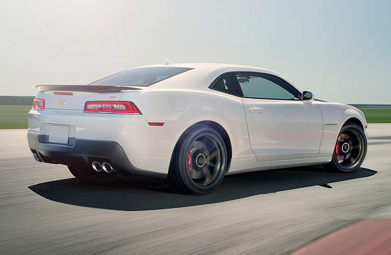Rear exterior view of a white 2015 Chevy Camaro