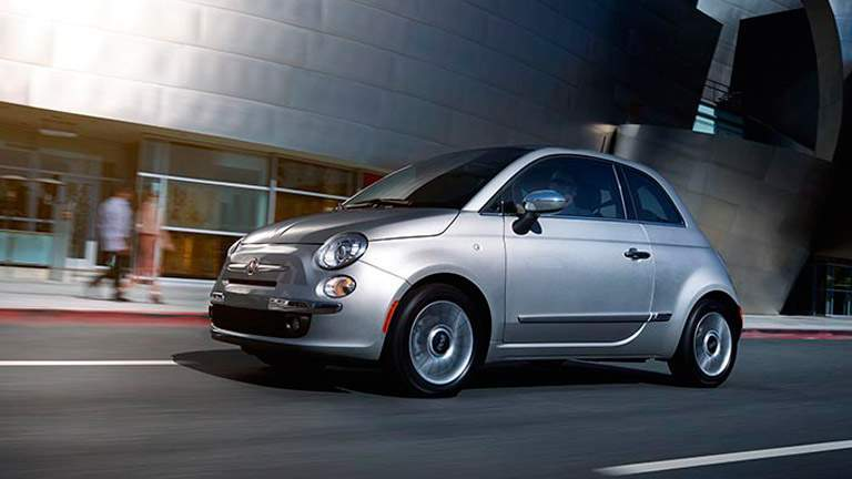 exterior view of gray 2015 Fiat 500 Lounge