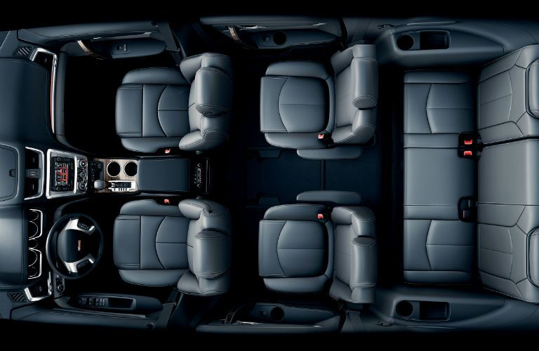 Overhead view of the three rows of seating in the 2015 GMC Acadia