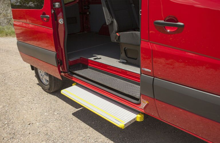 View of the passenger assist step on the rear passenger side door of the 2015 Mercedes-Benz Sprinter 2500