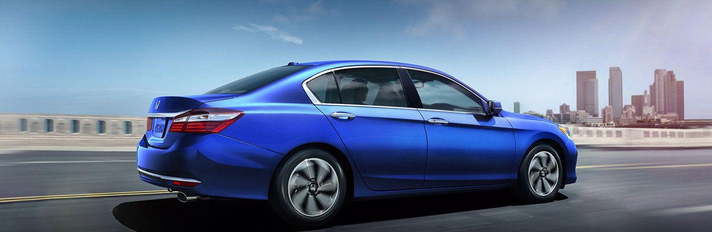 Passenger side exterior view of a blue 2016 Honda Accord