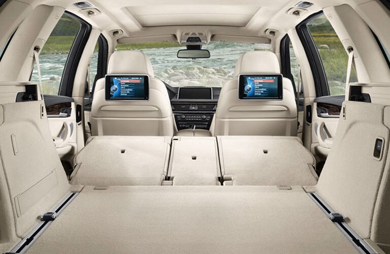Rear seats folded flat in the 2016 BMW X5