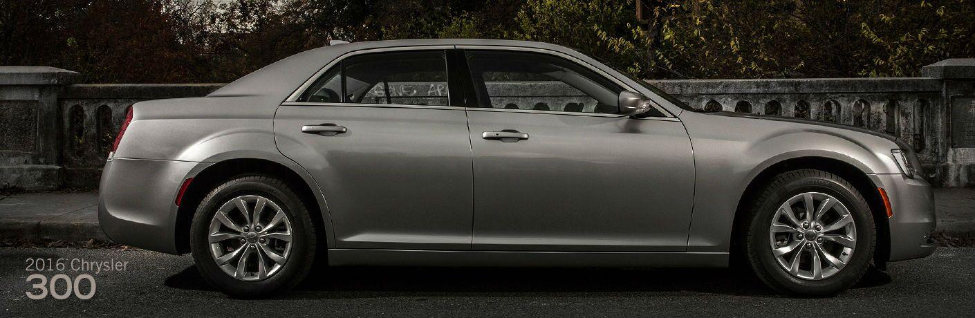 Passenger side exterior view of a gray 2016 Chrysler 300