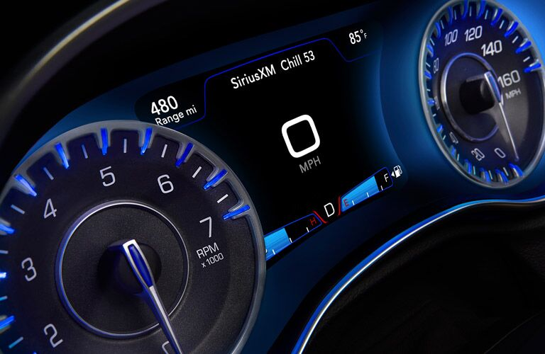 Close-up view of the driver information center of the 2016 Chrysler 300