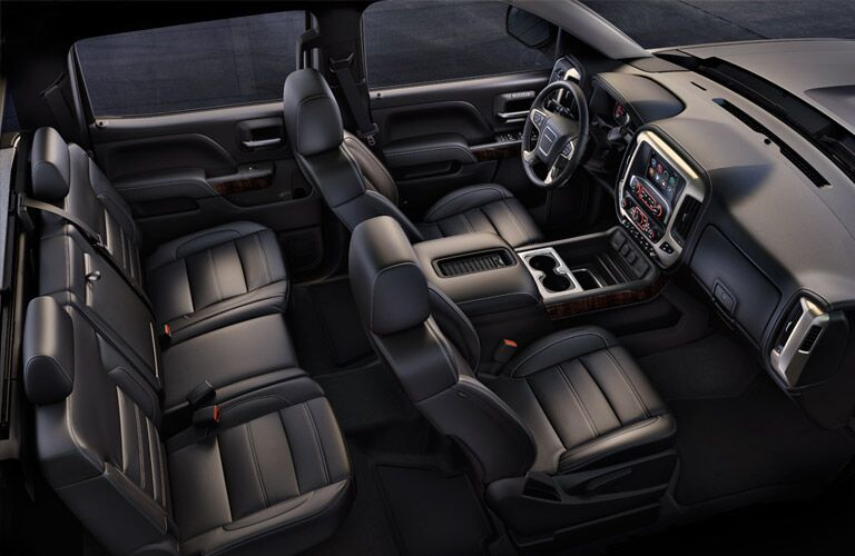 Overhead view of the 2016 GMC Sierra's available two rows of seating