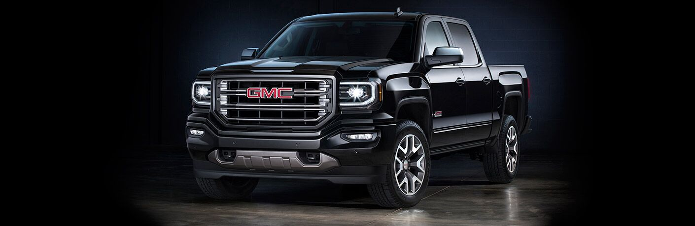 Front exterior view of a black 2016 GMC Sierra