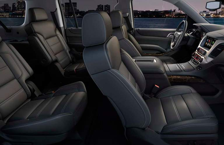 Side view of 2016 GMC Yukon's first two-rows of seats