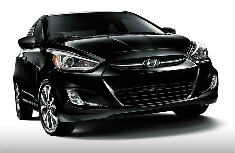 Front exterior view of a black 2016 Hyundai Accent