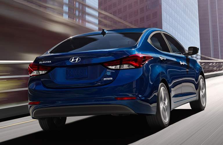 Rear exterior view of a blue 2016 Hyundai Elantra