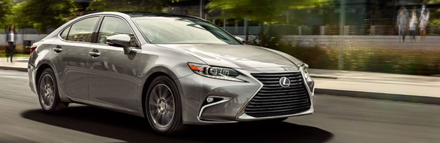Passenger side exterior view of a silver 2016 Lexus ES